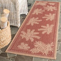 "Safavieh Courtyard Ferns Brick Red/ Natural Indoor/ Outdoor Runner Rug - 2'2"" x 9'11"""