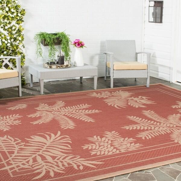 Safavieh Courtyard Ferns Brick Red/ Natural Indoor/ Outdoor Rug - 8' X 11'
