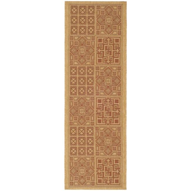 Safavieh Indoor/ Outdoor Natural/ Brick Red Runner Rug - 2'4 x 6'7