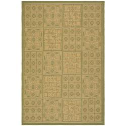 Safavieh Contemporary Indoor/Outdoor Green/Natural Rug (8' x 11')