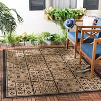 Safavieh Indoor/Outdoor Poolside Black/Natural Rug - 4' x 5'7""