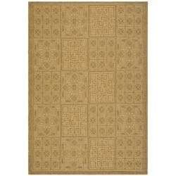 Safavieh Indoor/Outdoor Gold/Natural Geometric Pattern Rug (5'3 x 7'7)