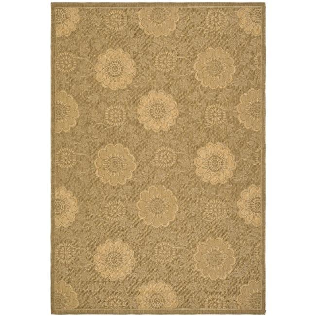 "Safavieh Indoor/Outdoor Gold/Natural Machine-Made Rug (4' x 5'7"")"