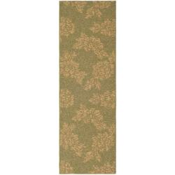 """Safavieh Indoor/Outdoor Green/Natural Floral Runner (2'2"""" x 9'11"""")"""