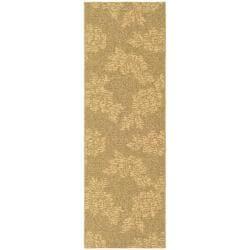 "Safavieh Indoor/Outdoor Contemporary Gold/Natural Runner Rug (2'2"" x 9'11"")"