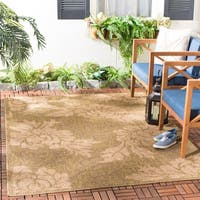 Safavieh Indoor/Outdoor Gold/Natural Floral Rug - 4' x 5'7""