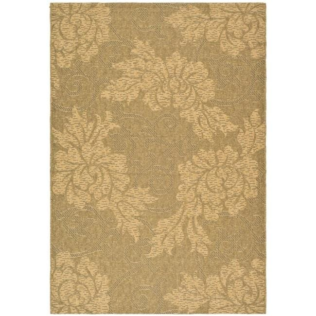 "Safavieh Indoor/Outdoor Gold/Natural Floral Rug (6'7"" x 9'6"")"