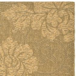 "Safavieh Indoor/Outdoor Gold/Natural Floral Rug (6'7"" x 9'6"") - Thumbnail 1"