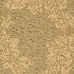 "Safavieh Indoor/Outdoor Gold/Natural Floral Rug (6'7"" x 9'6"") - Thumbnail 2"