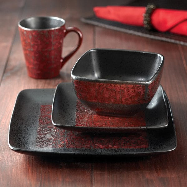 American Atelier Yardley Red Glaze 16 Piece Dinnerware Set Free Shipping To