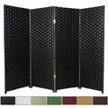 Handmade Woven Fiber Four-Panel Four-Foot Room Divider (China)