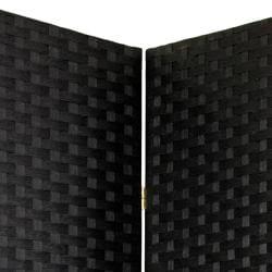 Handmade Woven Fiber 4-panel 7-foot Room Divider (China) - Thumbnail 1