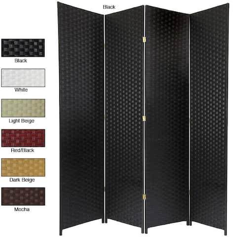 Handmade Woven Fiber 4-panel 7-foot Room Divider (China) - 84 x 78