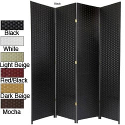 Handmade Woven Fiber 4-panel 7-foot Room Divider (China) - Thumbnail 0