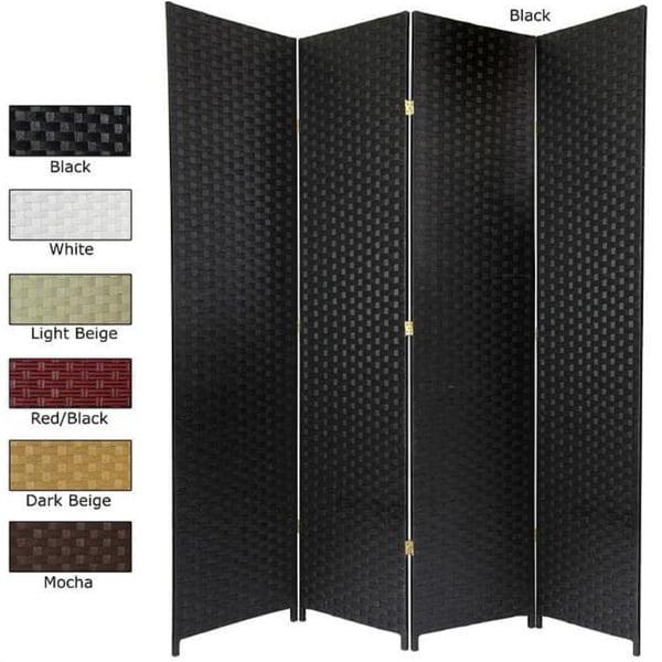 Handmade Woven Fiber 6-panel 7-foot Room Divider (China)