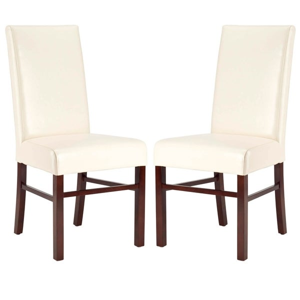 Safavieh Parsons Dining Astor Soft Cream Bicast Leather Side Chairs (Set of 2)