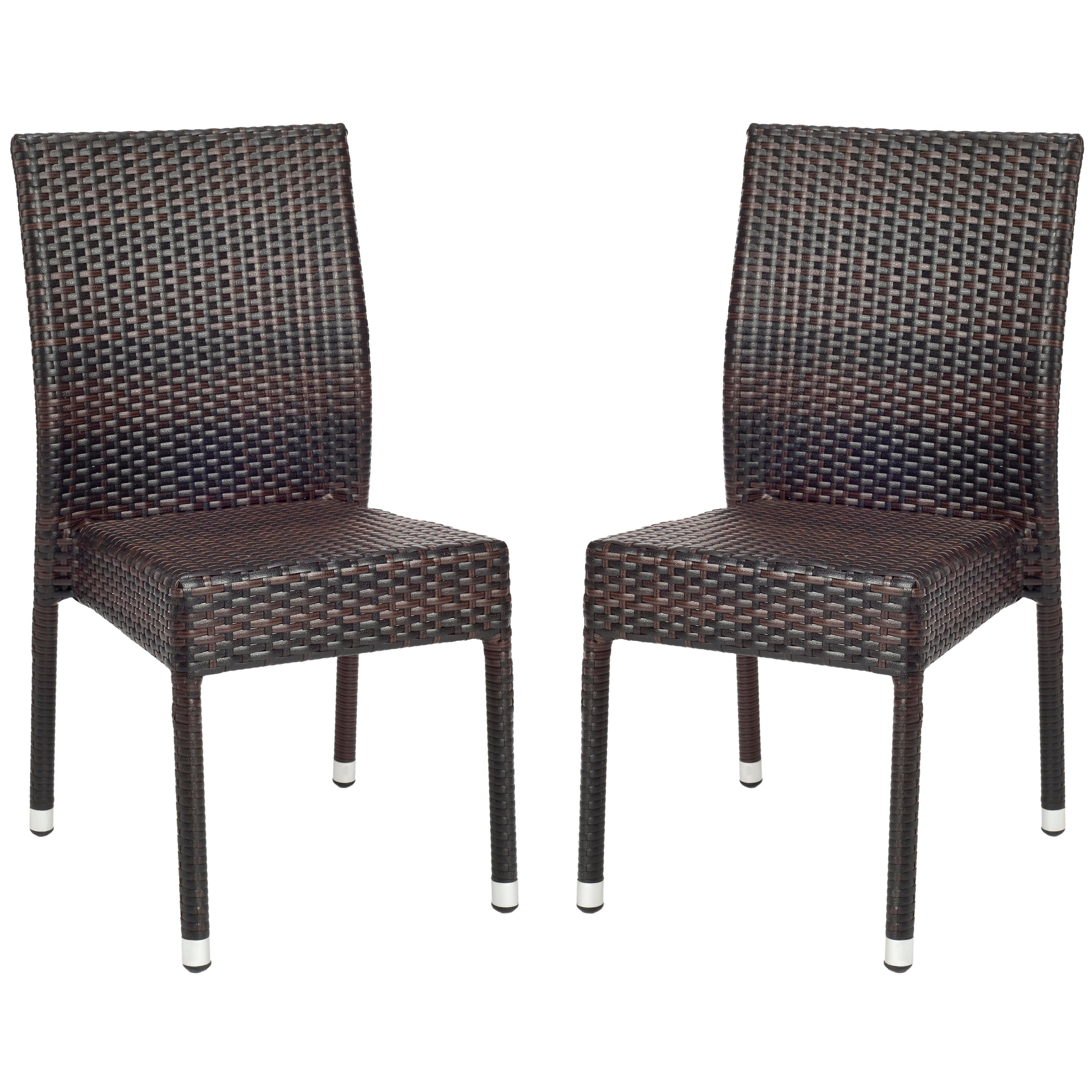 Stackable Outdoor Chair PVC Faux Wicker Seat Steel Frame Weather Resistant  (2)