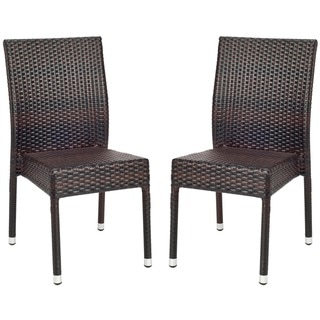Safavieh Hamptons Bay Wicker Stackable Outdoor Chairs (Set of 2)