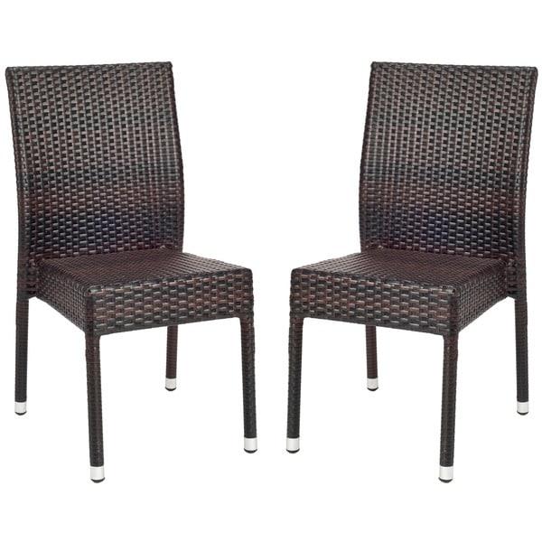 Shop Safavieh Hamptons Bay Wicker Stackable Outdoor Chairs