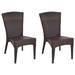 safavieh hamptons shore wicker stackable outdoor chairs set of 2 - Stackable Patio Chairs