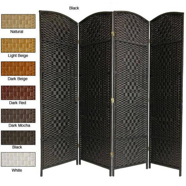 Wood and Woven Fiber 4-panel 6-foot Diamond Room Divider (China)
