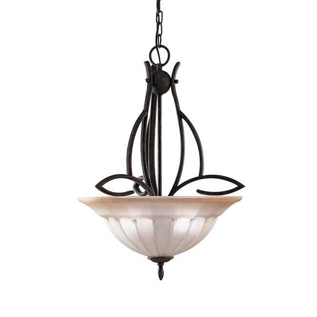 3-light Dark Bronze Inverted Pendant