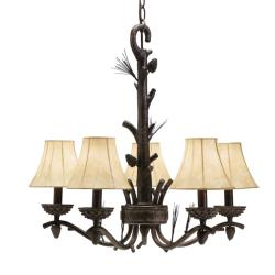 5-light Bronze Chandelier - Thumbnail 2
