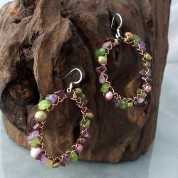 Handmade Silver Copper Wrap Purple/ Green Gemstone Earrings (4-6 mm) (Thailand)
