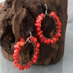 Handmade Sterling Silver Copper Wrap Red Coral Hoop Earrings (Thailand) - Thumbnail 1