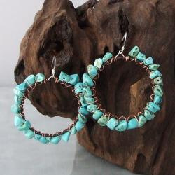 Handmade Sterling Silver Copper Wrap Turquoise Hoop Earrings (Thailand)