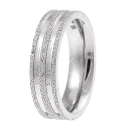 Stainless Steel Men's Diamond-Cut Band - Thumbnail 1