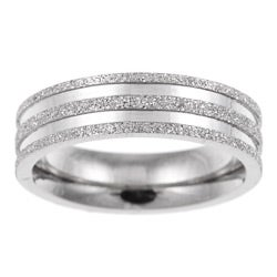 Stainless Steel Men's Diamond-Cut Band