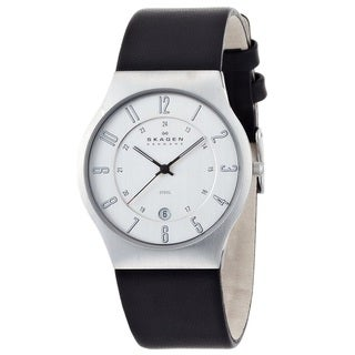 Skagen Men's 233XXLSLC Stainless Steel Silver Dial with Black Leather Strap Watch