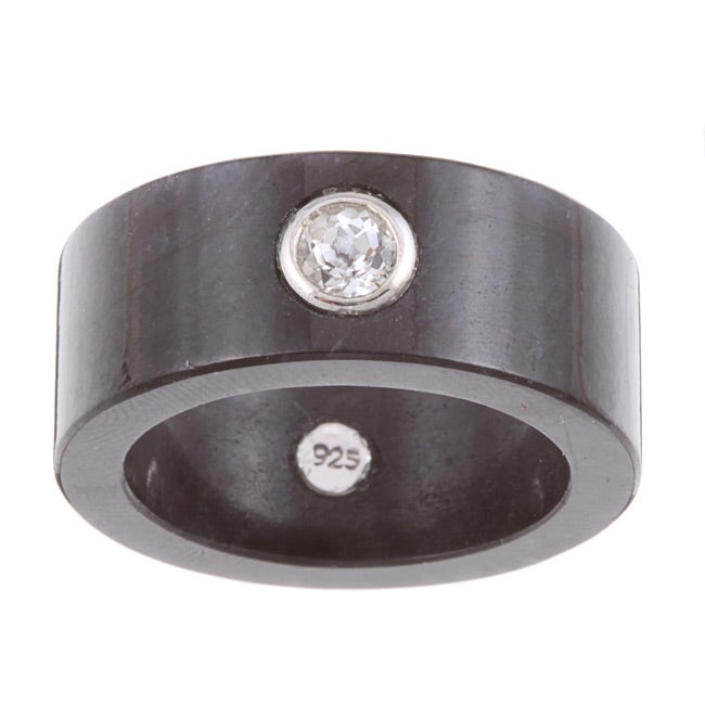 Kabella Sterling Silver White Topaz and Black Jade Ring