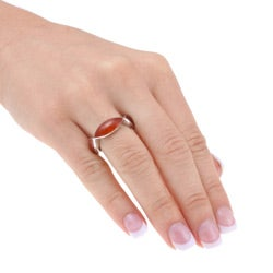Kabella Sterling Silver Marquise-cut Red Jade Ring - Thumbnail 2