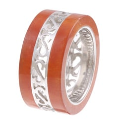 Kabella Sterling Silver Red Jade Band - Thumbnail 1