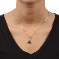 Kabella Sterling Silver Black Pearl and Cubic Zirconia Necklace (8.5-9 mm) - Thumbnail 2