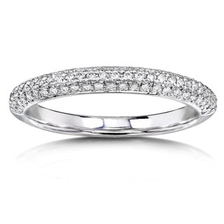 Annello by Kobelli 14k White Gold 1/4ct TDW Diamond Wedding Band