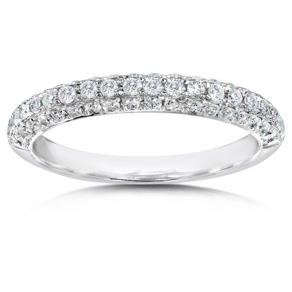 Annello by Kobelli 14k White Gold 1/2ct TDW Diamond Pave Band (H-I, I1-I2)