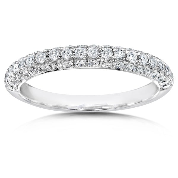 Annello by Kobelli 14k White Gold 1/2ct TDW Diamond Pave Band