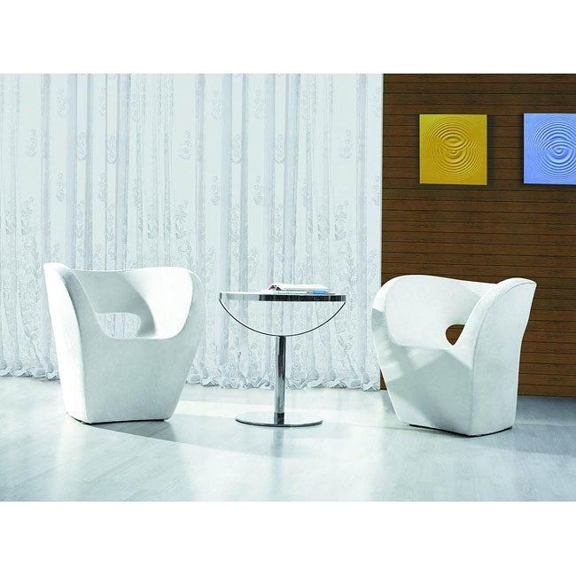 Louder White Bi-cast Leather Leisure Chair