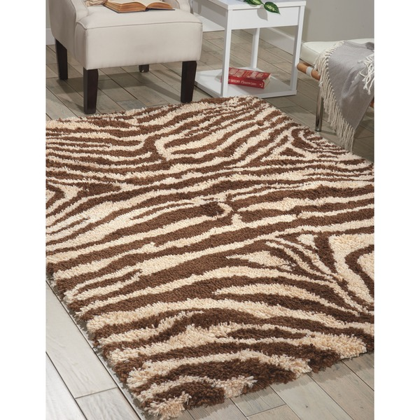 Nourison Splendor Ivory/Brown Shag Area Rug (5' x 7')