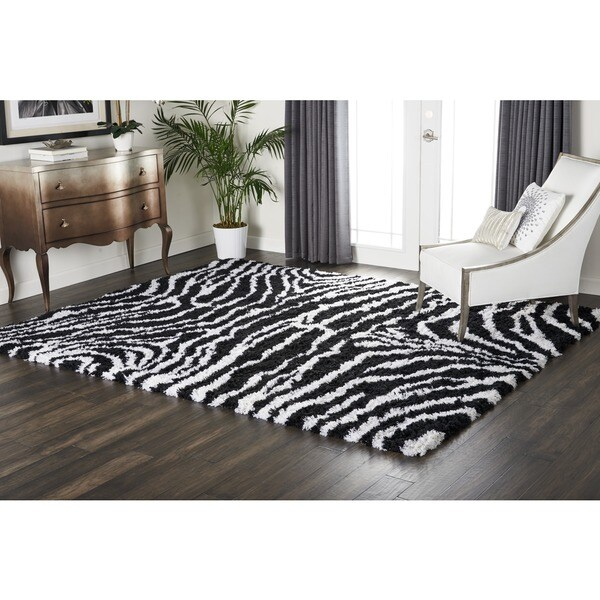 Nourison Splendor Black/White Shag Area Rug - 7'6 x 9'6