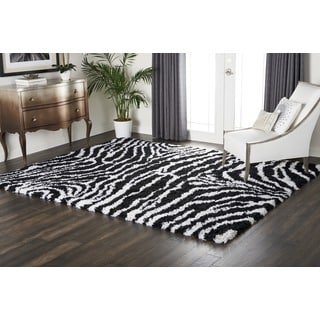 Nourison Splendor Black/White Shag Area Rug (7'6 x 9'6)