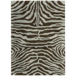 Nourison Splendor Aqua/Brown Shag Area Rug (2'3 x 3'9)