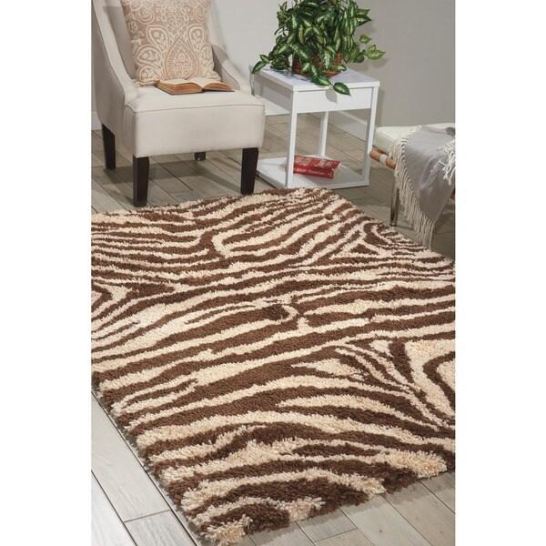 Nourison Splendor Ivory/Brown Shag Area Rug (7'6 x 9'6)