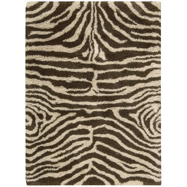 Nourison Splendor Ivory/Brown Shag Area Rug (2'3 x 3'9)