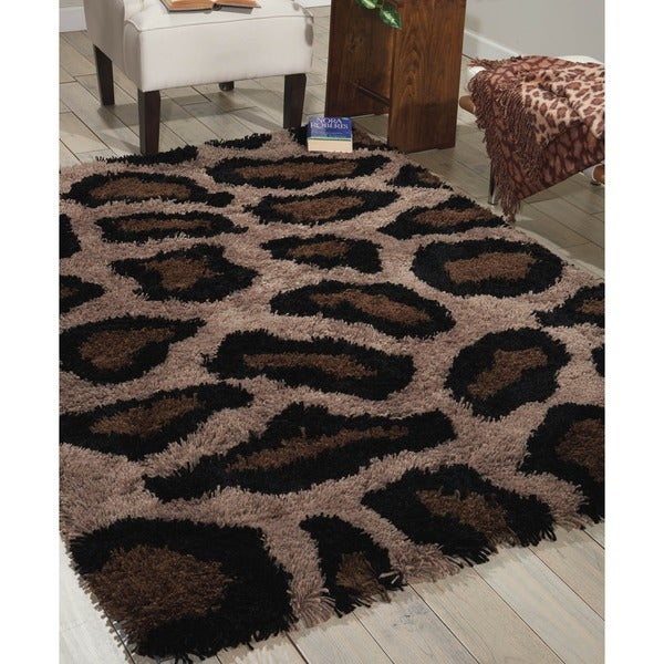 Shop Nourison Splendor Beige Black Shag Area Rug 7 6 X 9
