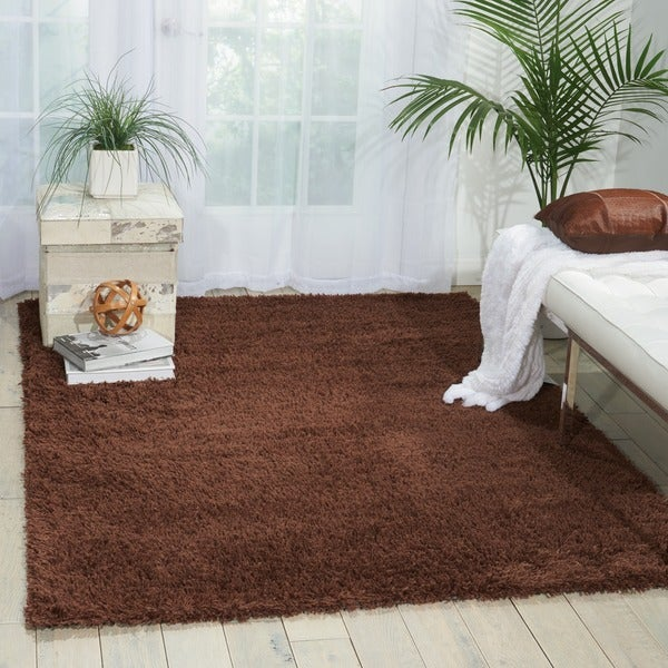 Nourison Splendor Chocolate Shag Area Rug (5' x 7') - 5' x 7'