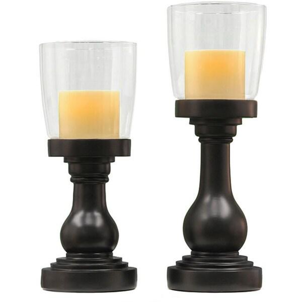 Shop CandleTEK Black Hurricane Flameless Candle Holders ...